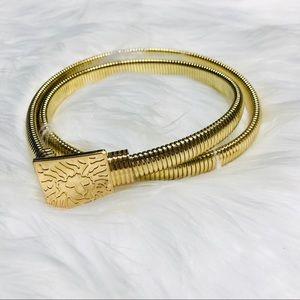 Vintage Anne Klein gold lion head belt